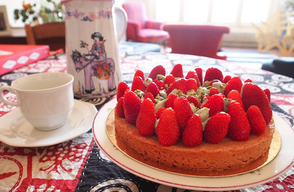 recette tarte fraise pistache express